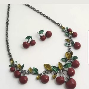 Cherry Necklace and Earing-Costume Jewelry